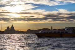 Sunset behind the Church of Madonna Della Salute in Venice Royalty Free Stock Photo