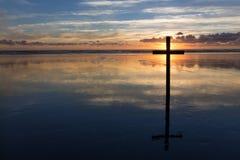 Sunset Behind Cross Royalty Free Stock Image