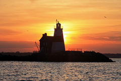 Sunset Behind Execution Rocks Lighthouse Stock Photos