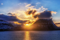 Sunset behind the famous mountain Kirkjufell Royalty Free Stock Photography