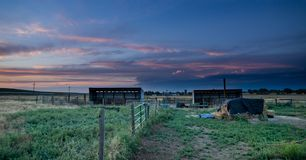 Sunset behind fencing in Eastern Plains Colorado Stock Images