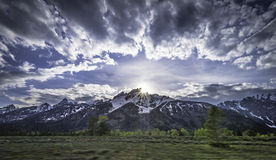 Sunset behind the Grand Tetons mountain Stock Images