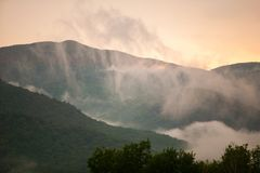 Sunset behind the green mountains of Vermont, USA Royalty Free Stock Photos