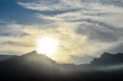 Sunset Behind Guimar Mountains Stock Image