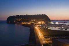 Sunset behind the island of Nisida, Naples Royalty Free Stock Photo