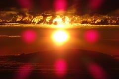 Sunset behind La Palma stock photography