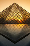 Sunset behind Louvre, Paris Stock Photography