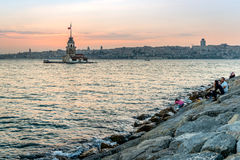 Sunset behind the Maden's tower in Istanbul Stock Image