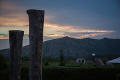 Sunset behind mountain peals Stock Photography