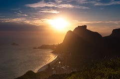 Sunset Behind Mountains in Rio de Janeiro Royalty Free Stock Images