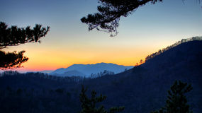 Sunset Behind the Mountains in South Korea Royalty Free Stock Image