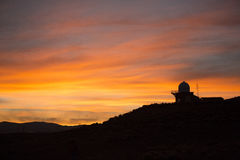 Sunset behind observatory Royalty Free Stock Photo