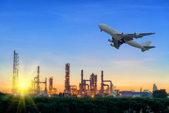 Sunset behind of the oil refinery plant. Sunset behind of the oil refinery plant, Transportation Royalty Free Stock Images