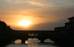 Sunset Behind Ponte Vecchio Bridge Florence Italy Royalty Free Stock Photos
