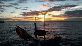 Sunset behind the sea stock video footage