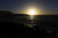Sunset behind sea on the horizon at Malta, St. Paul Stock Photography
