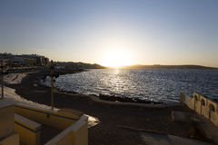Sunset behind sea on the horizon at Malta, St. Paul Royalty Free Stock Photos