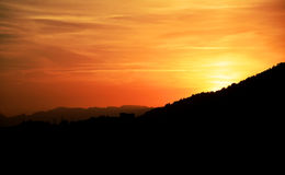Sunset behind Spanish hills. stock photography