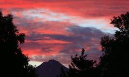 Sunset behind Taranaki Royalty Free Stock Photography
