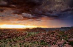 Sunset behind a thunderstorm Stock Photos
