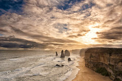 Sunset behind twelve apostles at great ocean road Stock Photos