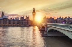 The Westminster and the Big Ben in London during sunset. Sunset behind Westminster and the Big Ben in London, United Kingdom Royalty Free Stock Image