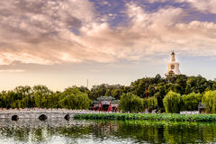 Sunset in Beihai park Stock Images