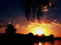 Sunset in Beijing. A beautiful sunset view near Forbidden City in Beijing stock image