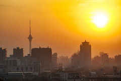 Sunset in Beijing. Cityscape of Beijing at sunset Royalty Free Stock Photo