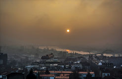 Sunset in Belgrade. Evening panorama of Belgrade during sunset Stock Photo