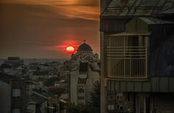 Sunset in Belgrade. View of Belgrade rooftops during sunset Royalty Free Stock Image