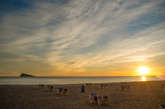 Sunset on Benidorm beach Royalty Free Stock Image