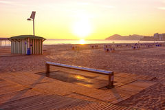 Sunset on Benidorm beach Royalty Free Stock Photos
