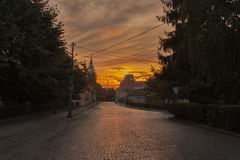 Sunset in the Berehovo city center, Ukraine Stock Photo