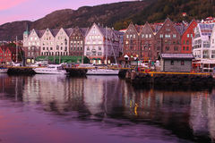 Sunset in Bergen, Norway Royalty Free Stock Image