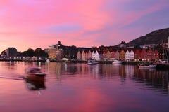 Sunset in Bergen, Norway Stock Images