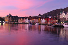 Sunset in Bergen, Norway Royalty Free Stock Photography