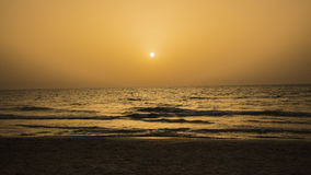 Sunset at Beth Yani Beach. North of the Sharon, Israel Royalty Free Stock Photography