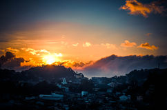 Sunset. Beyond the mountains of Baguio Stock Images