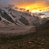Sunset at the Bezengi Wall Royalty Free Stock Image