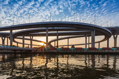 Sunset at Bhomipoon Bridge crosses the Chao Phraya River Royalty Free Stock Photos
