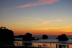 Sunset in Biarritz. Sunset in the seafront in Biarrits Stock Photo
