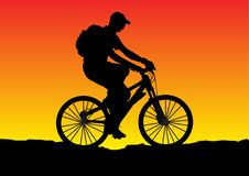 Sunset bicycle. Illustration of a sunset bicycle Royalty Free Stock Image