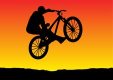 Sunset bicycle jumping. Illustration of a sunset bicycle jumping Stock Image