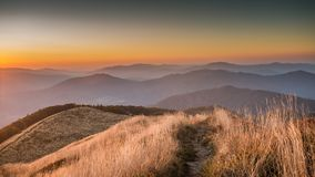 Sunset in Bieszczady Mountains, Poland. Beautiful mountains in Poland - Bieszczady Stock Photos