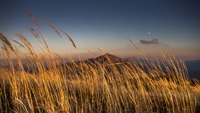 Sunset in Bieszczady Mountains, Poland. Beautiful mountains in Poland - Bieszczady stock photography