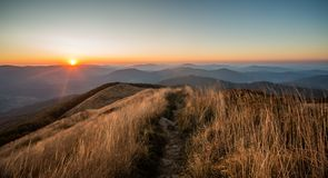 Sunset in Bieszczady Mountains, Poland Stock Image