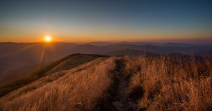 Sunset in Bieszczady Mountains, Poland. Beautiful mountains in Poland - Bieszczady Stock Photo