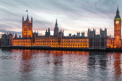 Sunset at the Big Ben in London, England Royalty Free Stock Photography