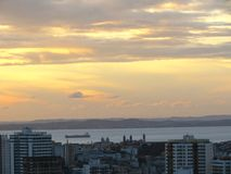 Sunset in Big City with Sea Salvador Bahia Brasil stock images